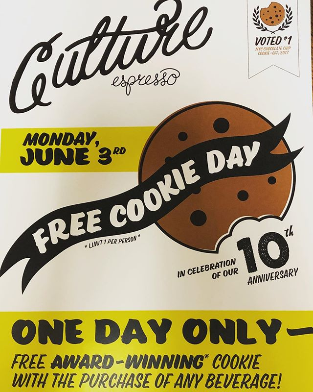 Seeing as today is #nationalchocolatechipcookieday we'd like to announce our upcoming ten year anniversary. To thank you all for the continued support over the years we'll be giving out free #culturecookies with the purchase of any beverage all day on June 3rd. 1 per person, so bring your whole crew. Xoxo culture  P.s. sick poster made by thee inimitable @designbysummerman