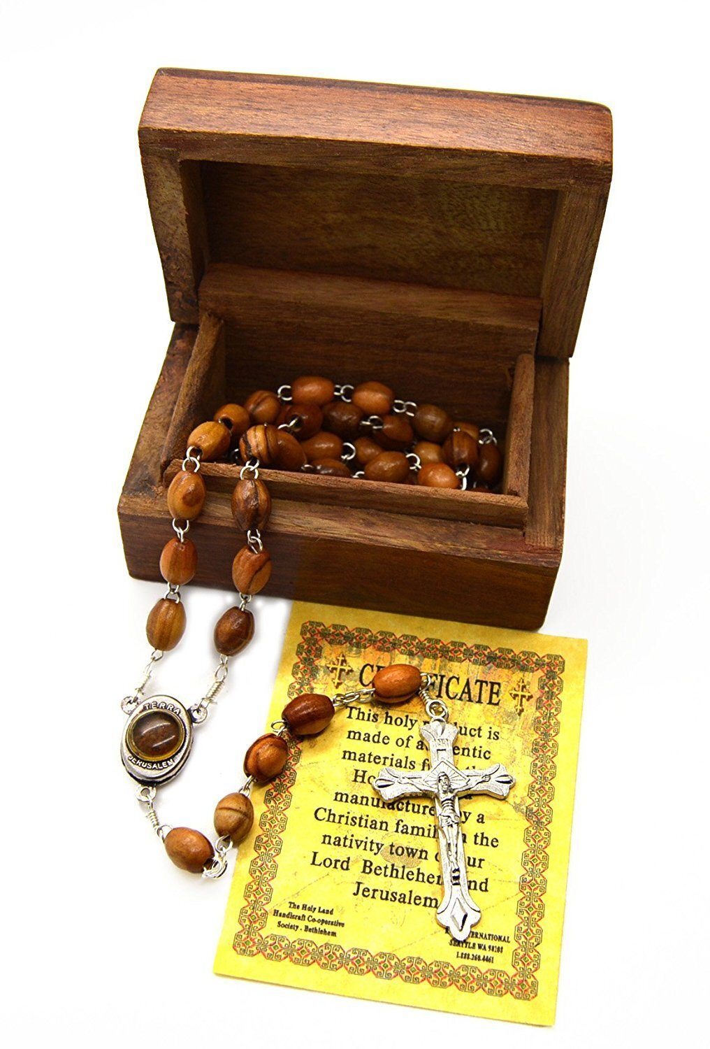 Holy Land Olive Wood Rosary Beads with Holy Soil