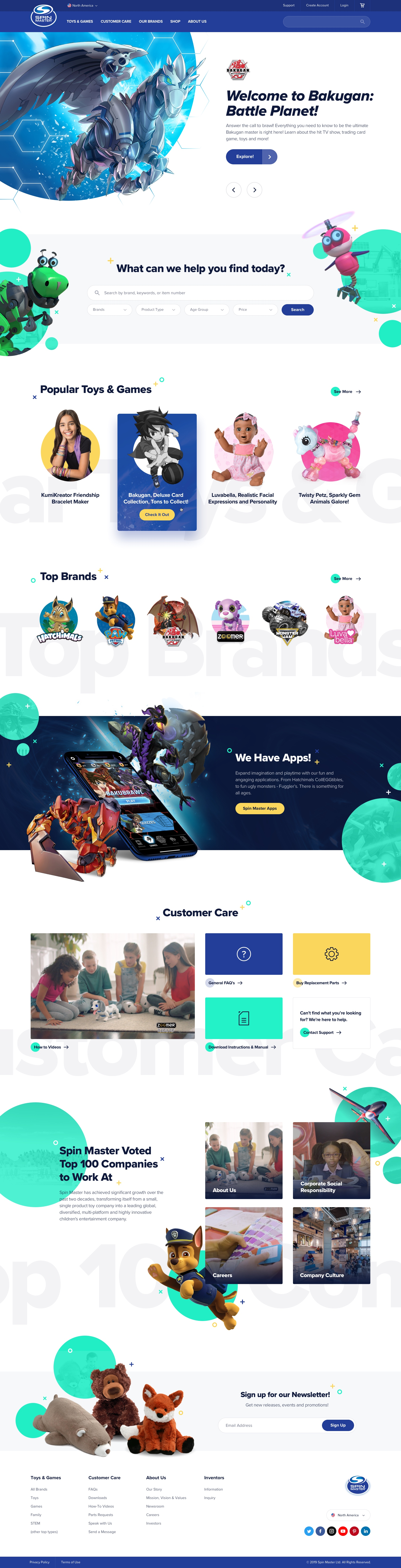 Spin Master Home Page Design - First Concept