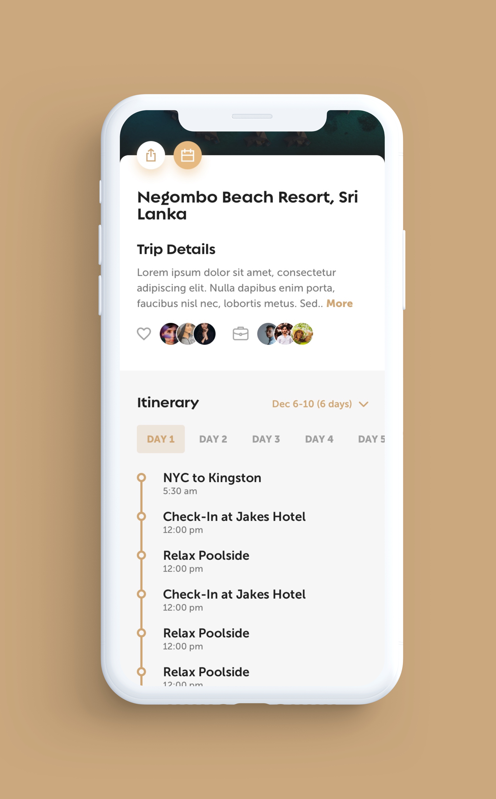 Legends iOS App UI Design – Travel Location Profile, Trip Details and Itinerary