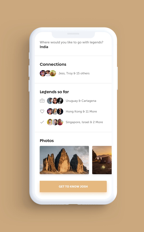 Legends iOS App UI Design – Travel User Profile2