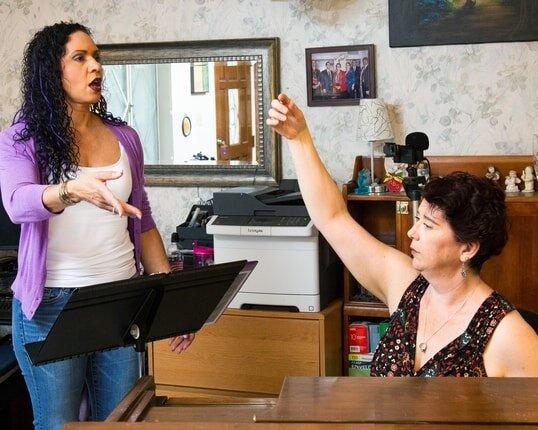 Yes, serious work happens with singing coach Rachel at Velarde Voice, Scottsdale, AZ