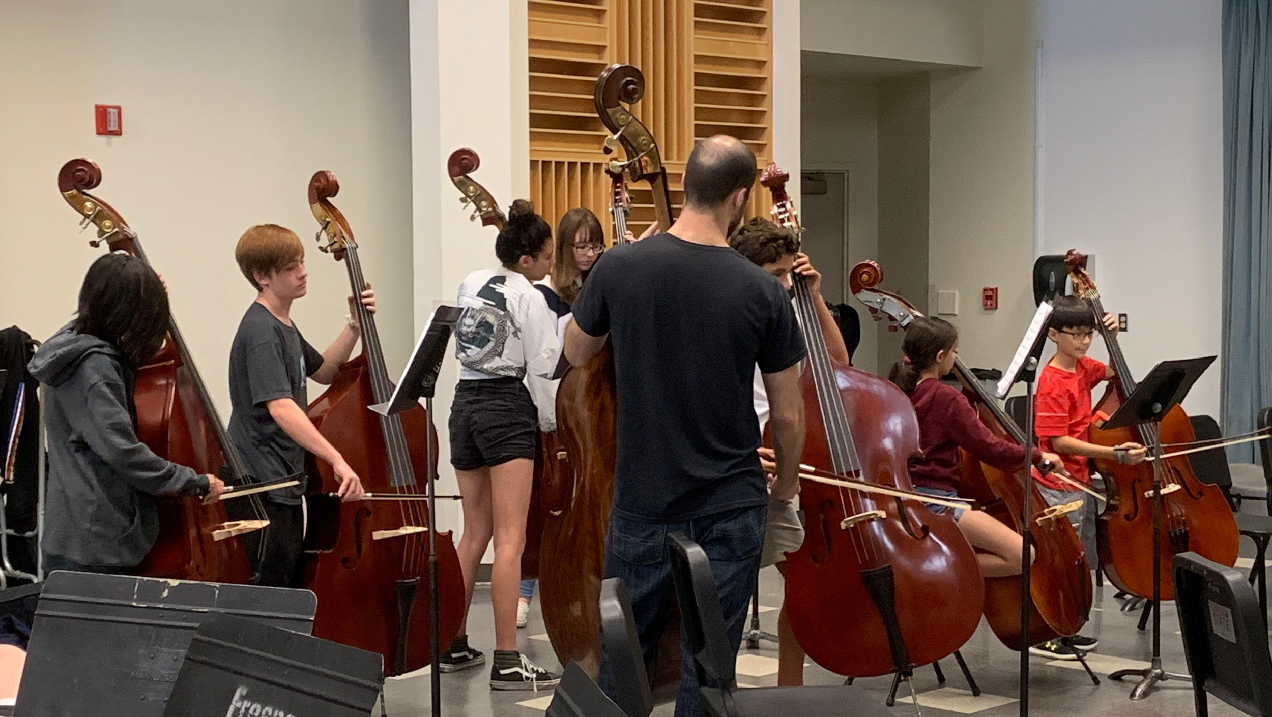 New Kiwanis basses in use by brand-new bass players! (Youth Orchestras of Fresno at Fresno State, October 2019)