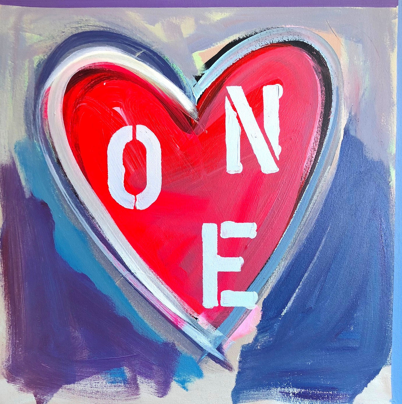 """""""One Love,"""" acrylic on canvas, 24x24 in, Rachel Kice, all rights reserved"""