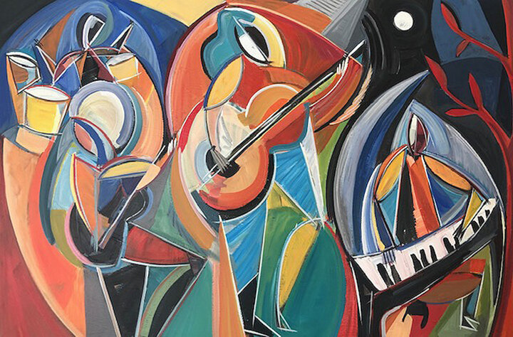 """""""Stay For The Music,"""" acrylic on canvas, 24 x 36 inches, Rachel Kice, 2019"""