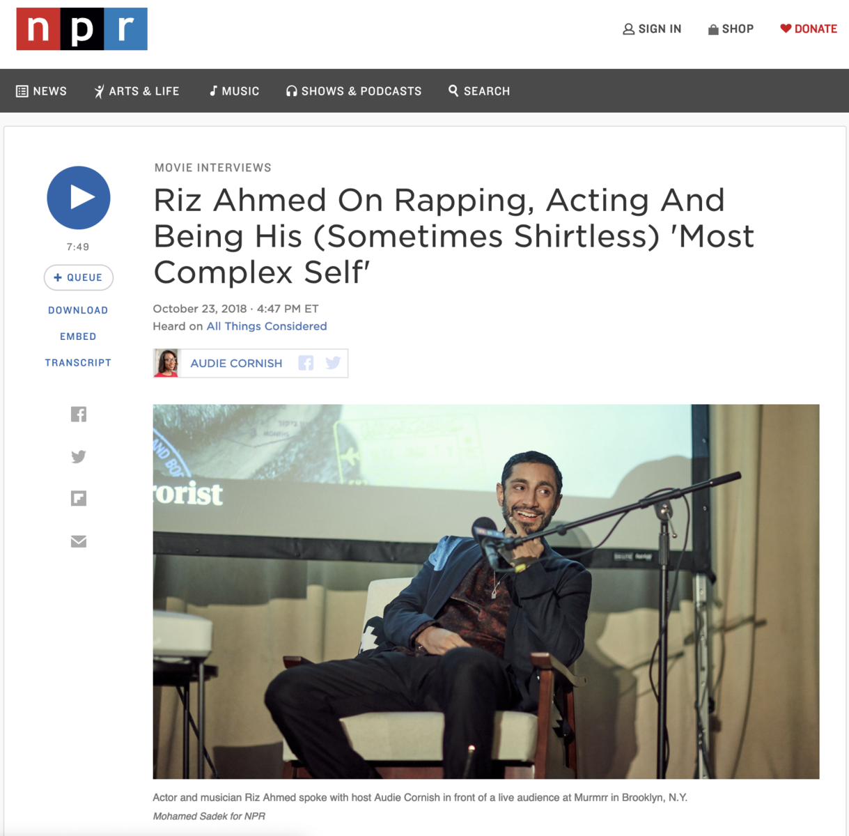 NPR, Riz Ahmed