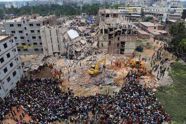 [Image Caption: The scene after the Rana Plaza Collapse. Img Source:    The Guardian   ]