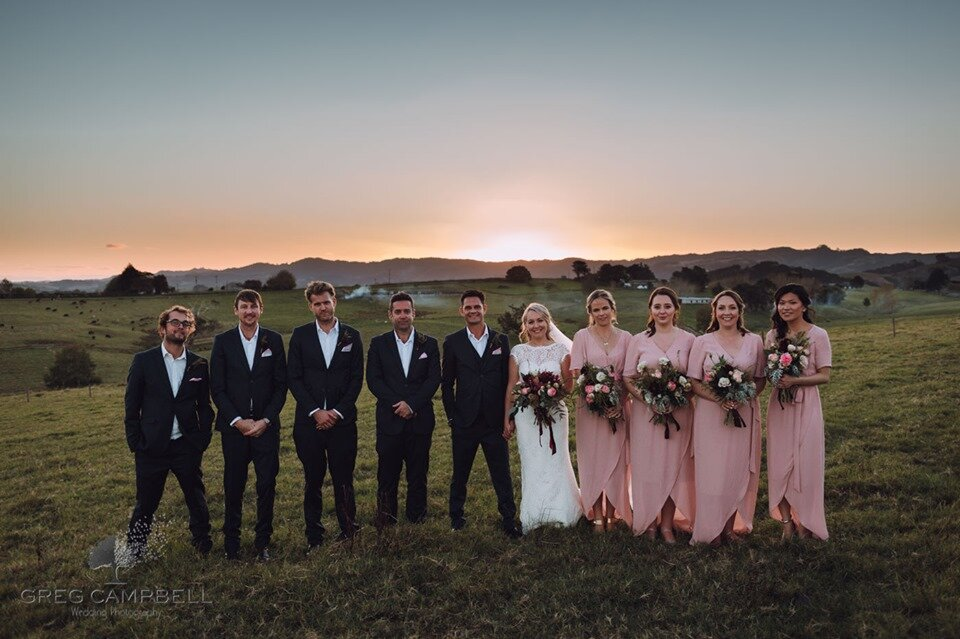 Rebecca's Bridesmaids wearing the Lily Wrap Dress - Greg Campbell Photography