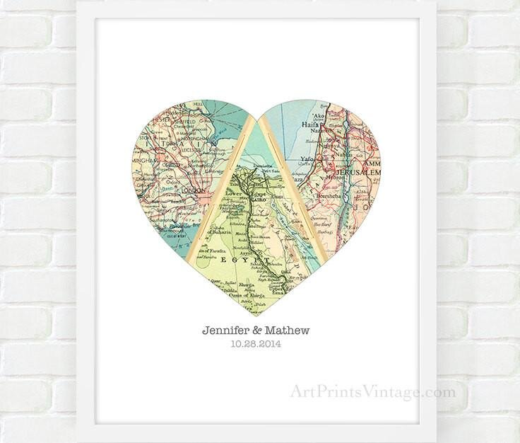 Personalized Wedding Gift For Couple Heart Map For Unique Anniversary Gift Vintage Style Map Art Print Art By Silvia Victoria