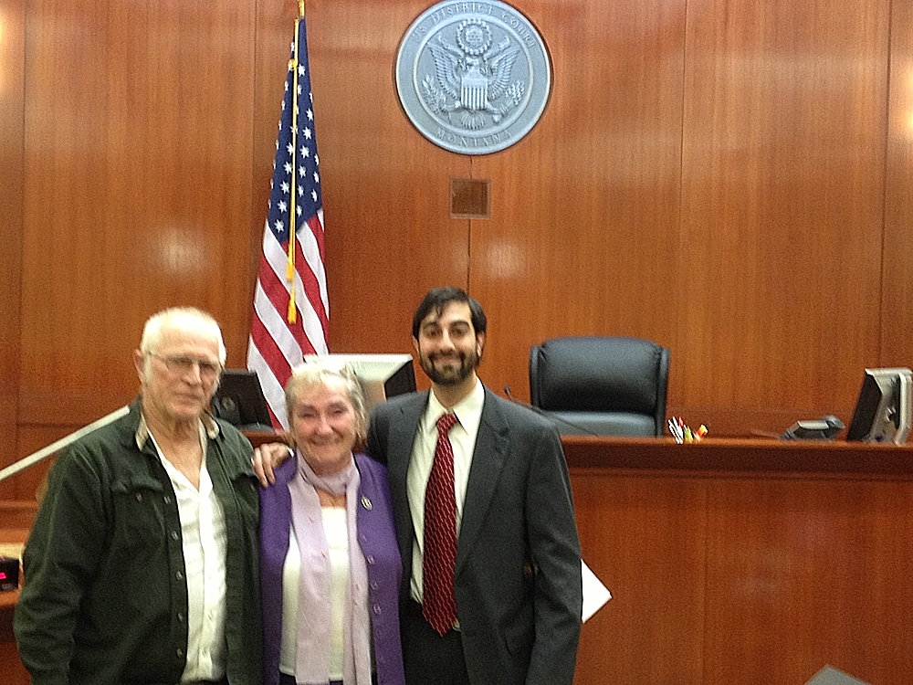 Shahid Haque, pictured with a client for whom he proved U.S. citizenship in federal court.