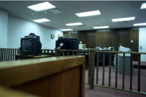 """Image from a report entitled: """"Videoconferencing in Removal Hearings:"""