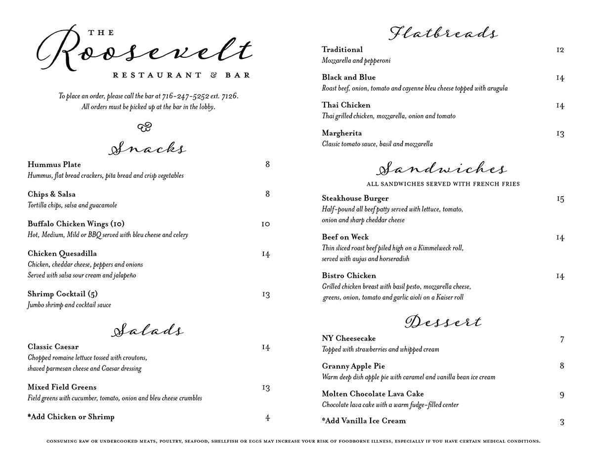 The menu that accompanied the branding