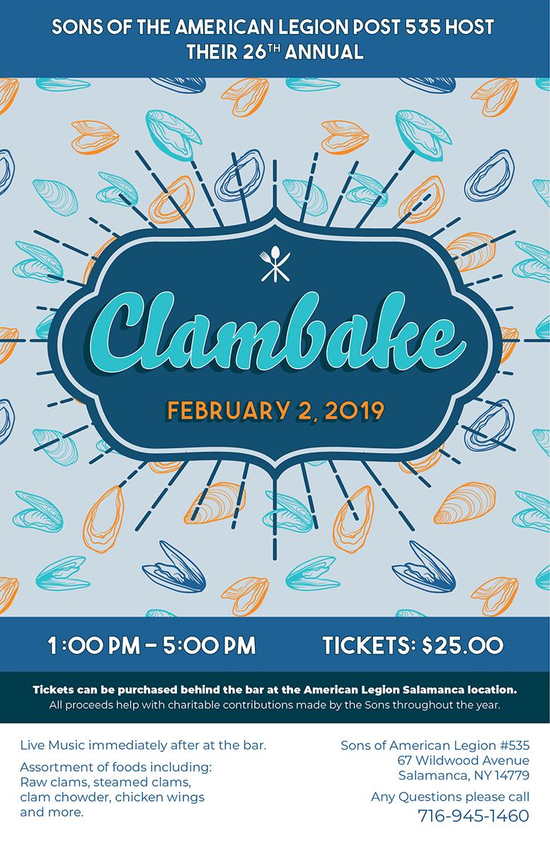 2019 Clam Bake Poster - Utilizing a funner design color scheme and elements.