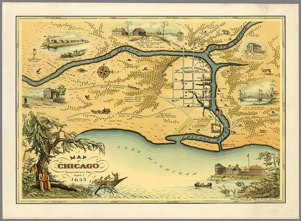 Map of Chicago, ca 1833