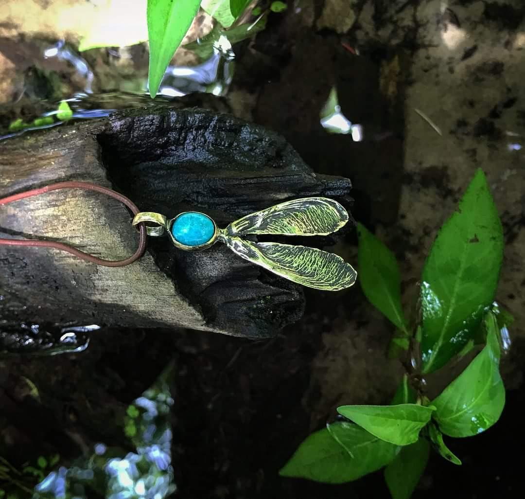 Polished Brass - Amazonite Stone