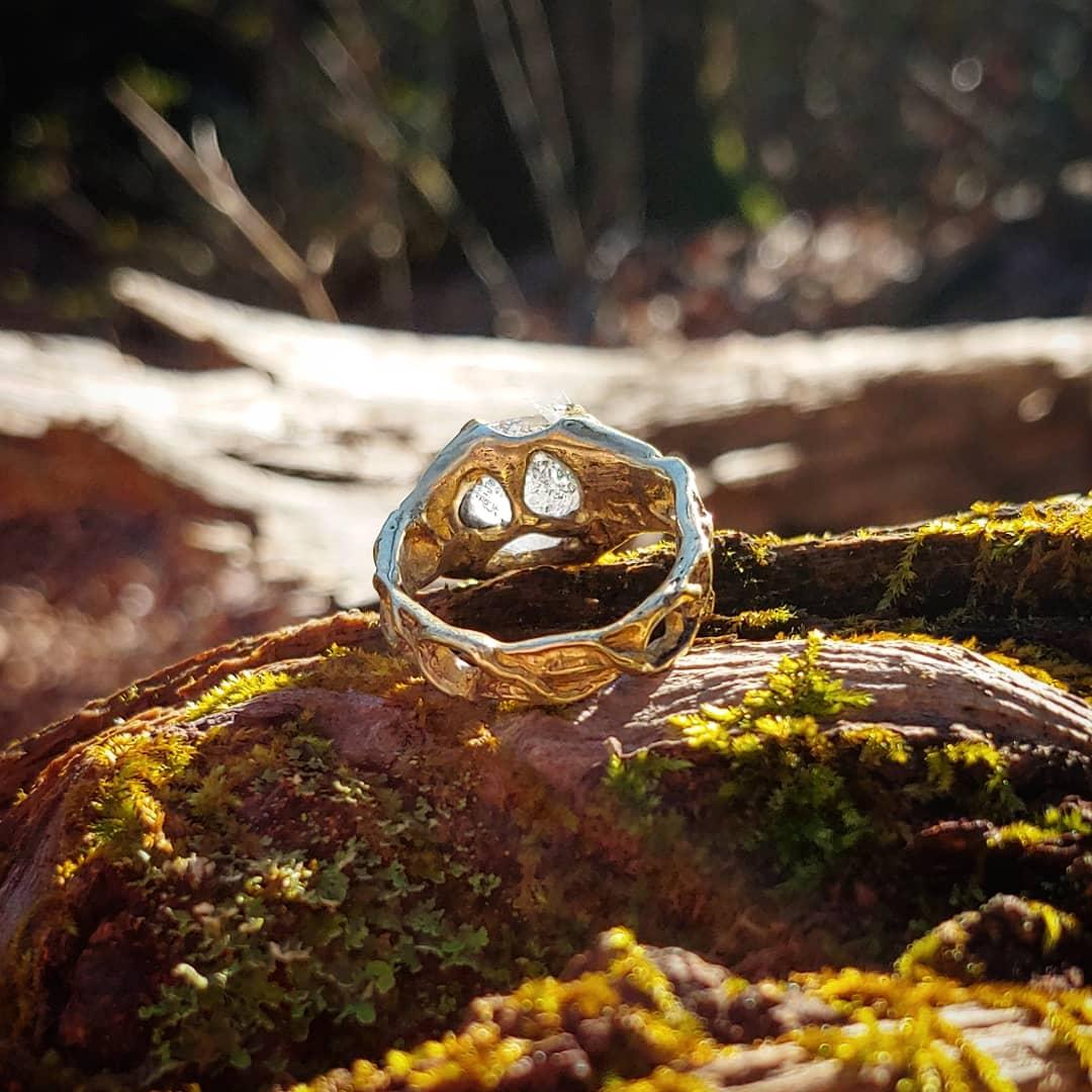 Polished Brass - Herkimer Diamond