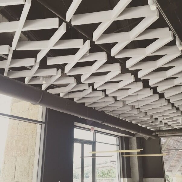 Cookbook Cafe - @ Austin Central Library. Discreet ceiling-mounted pendant speakers