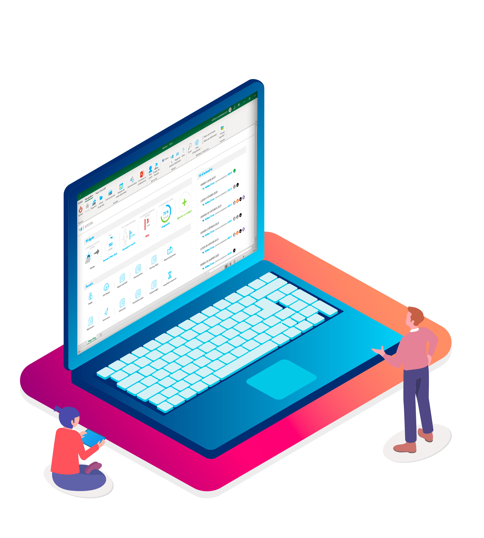 Une information partagée en temps réel - Un fil d'actualité vous informe des principaux changements réalisés sur vos projets par l'ensemble des acteurs. Vous suivez en toute simplicité les tâches complétées, la saisie du consommé, les décalages de planning, l'assignation de tâches.Tabsters vous permet de créer, de suivre et de partager vos données projets avec l'ensemble de vos collaborateurs.