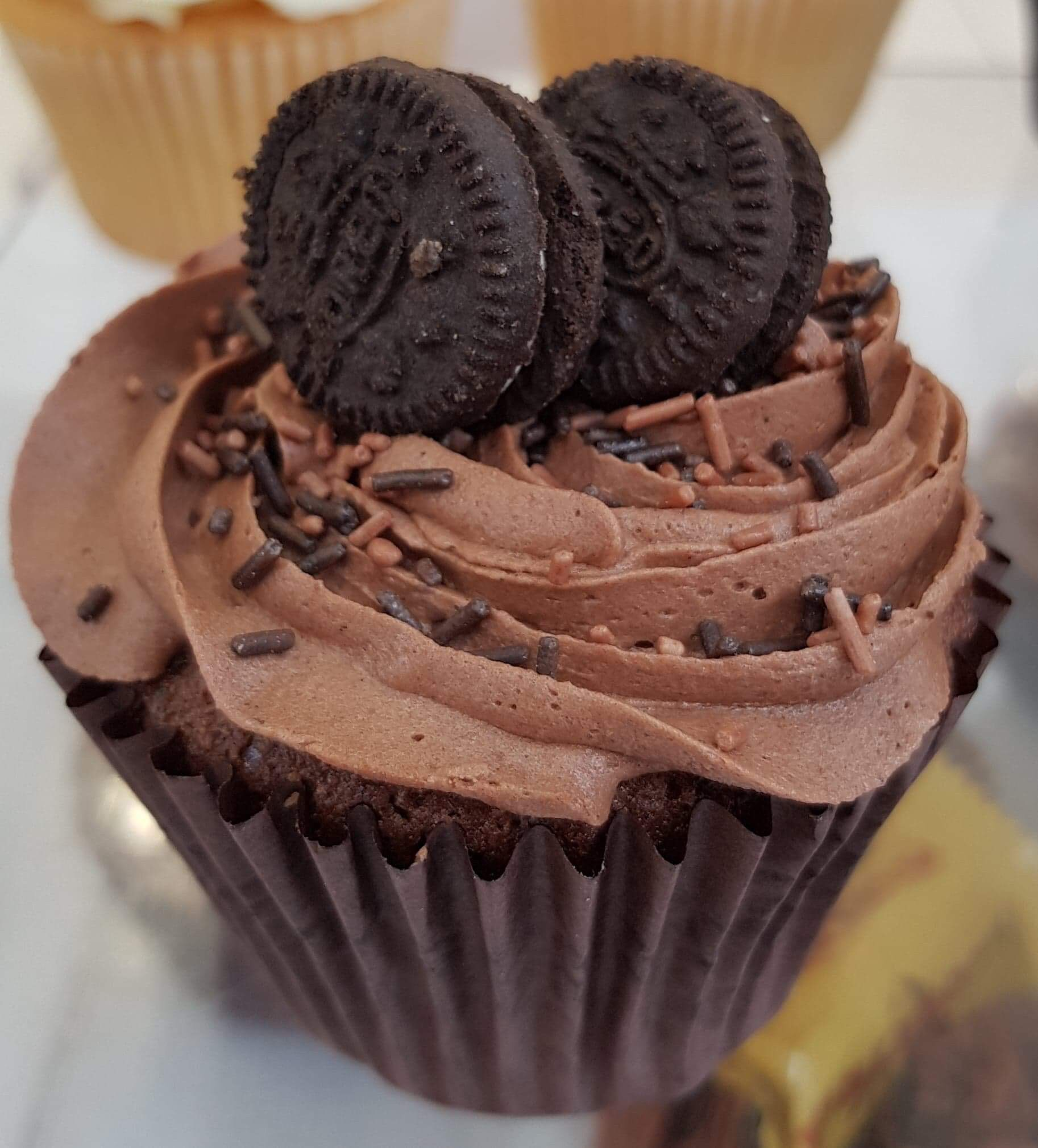 Luscious chocolate cupcake covered in a naughty rich chocolate buttercream topping