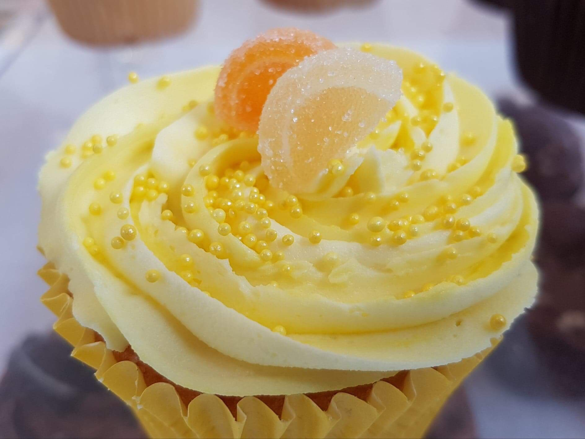Zesty lemon Cupcake with zest in the sponge finished off with a smooth lemon buttercream