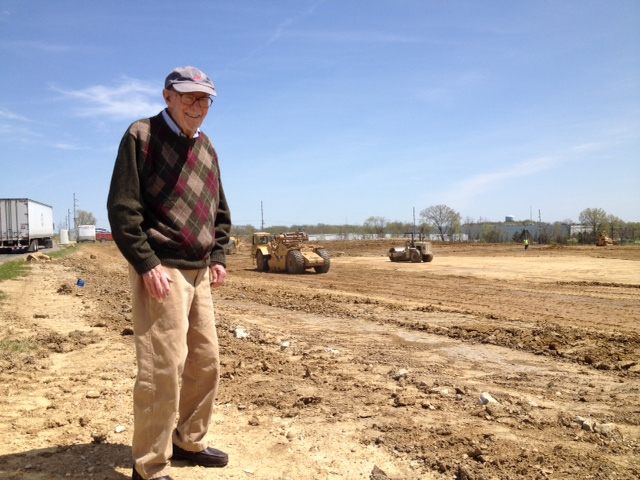 In 2014, at the age of 94 Jack O'Neill on a site visit to observe the earthwork at OMT in Hebron, Ohio.