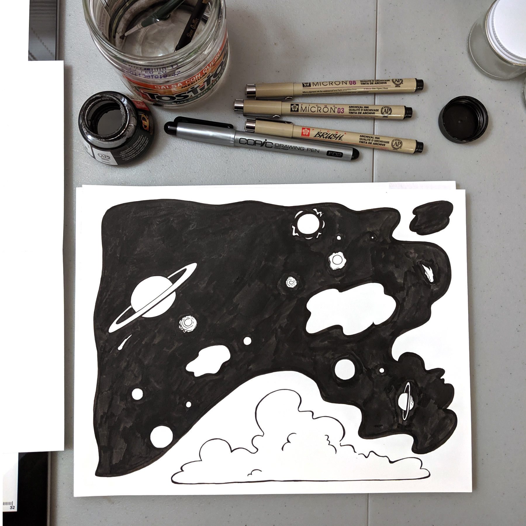 Here's what I got done in one hour for day one of Inktober. Next I have a vision for a sky filled with stars!