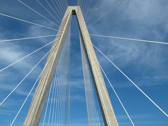 ©   Old White Truck  View looking up from the Arthur Ravenel Jr. Bridge in Mt. Pleasant South  Carolina