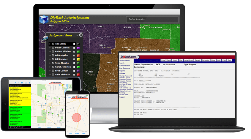 Ticket Assignment Routing - DigTrack can automatically screen and assign tickets to field locators based on a variety of criteria, such as place, member code, grid, and polygon. Pre-dispatch tickets when you want to hold them for review before releasing requests to the field. Or go direct when you are ready to speed up the process and completely automate the job of assigning locates. Assignment routing of tickets makes it easy for your organization to address large volumes of locate requests on time … and getting started with polygon-based assignment is as simple as drawing polygon regions and selecting the tech that gets that area.