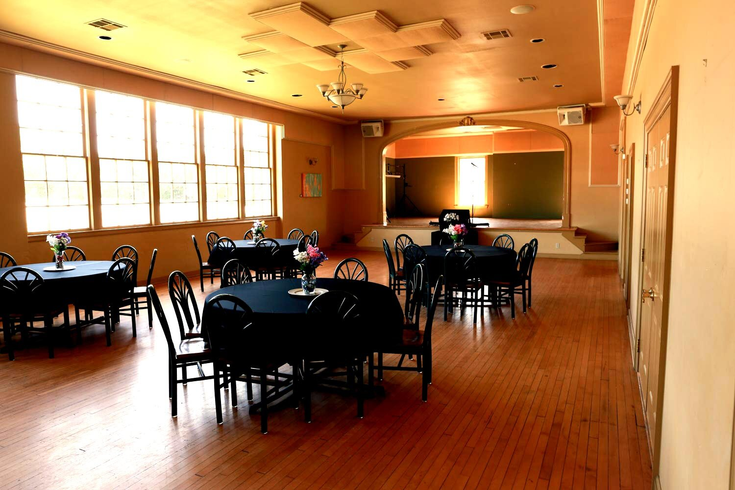 Event Space - Our 8,000 sq. ft. venue is perfect for your wedding or event. Located in Drumright in a quaint, beautiful historic venue, our facility lends a touch of romance and class to your event. With facility-wide sound both indoors and outdoors, our state-of-the-art venue will not only serve as a beautiful, elegant backdrop for your big event but also blow your guests away with a full range of amenities and services.