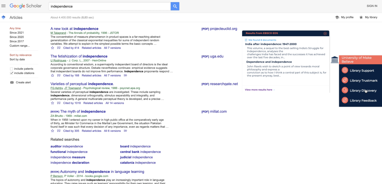 Figure 1: EBSCO EDS embedded on Google Scholar