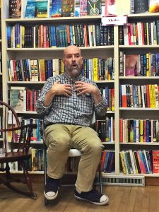Justin Colussy-Estes bookseller at Little Shop of Stories