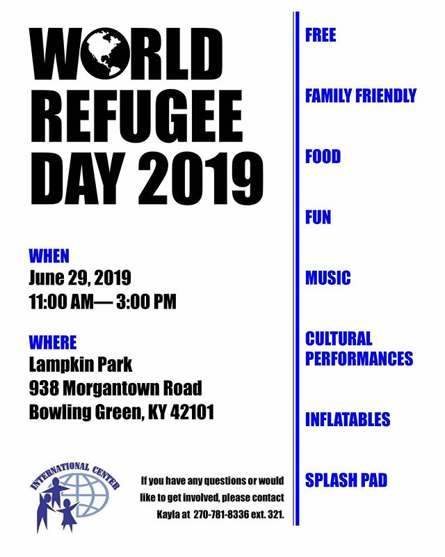 Mark your calendars now!  Free food 🍚 entertainment 💃🏾and children's activities 🤸🏼♀️as well!  World Refugee Day 2019 is coming soon!🌍