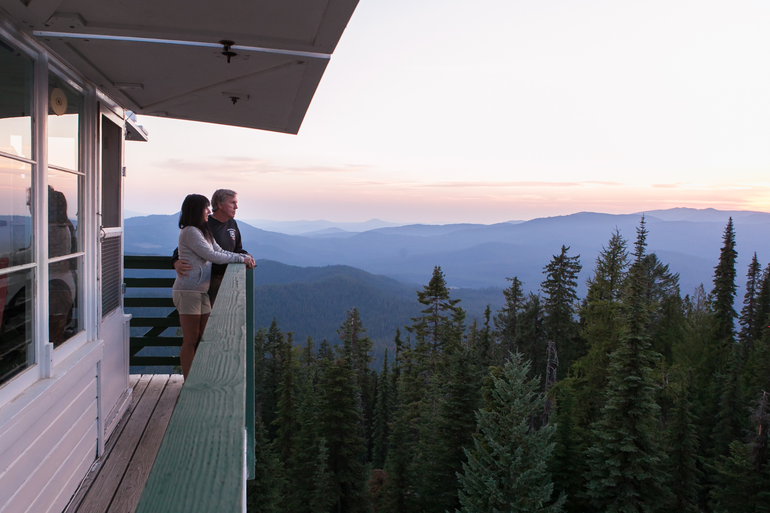 In the fall of 2016, forest fires were wreaking havoc in the southeastern U.S., including the Party Rock Fire in western North Carolina, where retired couple Mike and Nadine Masiello live. Though it burned more than 7,000 acres over three weeks, no structures were lost, thanks to the efforts of hundreds of firefighters, some of whom were flown in from all over the country to help.    The Masiellos wanted to say thank you in a tangible way. They researched volunteer opportunities as fire tower lookouts, and a few weeks later, drove to the Idaho panhandle, where they spent their summer living at 5,000 feet, scanning the horizon for smoke and communicating with firefighters on the ground at the Priest Lake Ranger Station. Until they arrived in Idaho, Mike and Nadine had no idea that some of those very firefighters had flown to North Carolina in the fall to fight the Party Rock Fire. Mike and Nadine's gratitude had not only reached great heights; it had come full circle. (story featured by AARP)