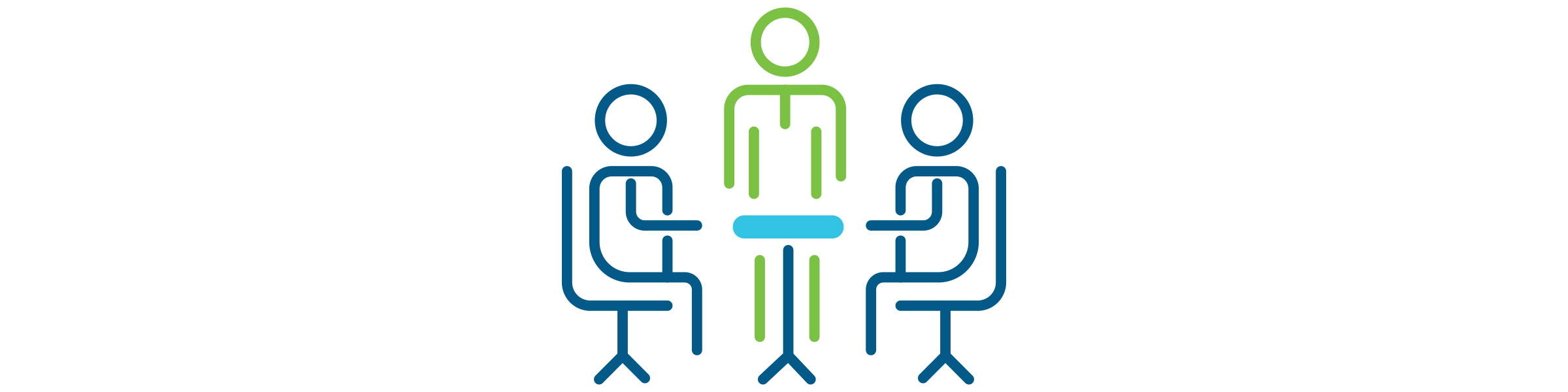 A group of stick figures around a conference table.