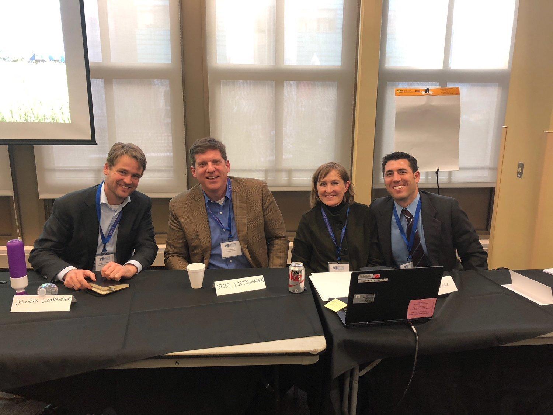 Johannes Schreuder (United Nations Peacebuilding Support Office), Eric Letsinger (Quantified Ventures), Michelle McMahon (Innovest Advisory), and Rabbi Joshua Ratner (Jlens Impact Investor Network).