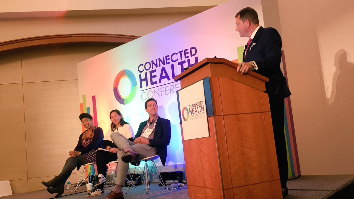 Quantified Ventures' Brendan O'Connor (second from right) at the Connected Health Conference in Boston.