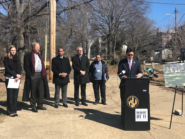 Representatives from Quantified Ventures, the Chesapeake Bay Foundation and Baltimore announced the city's first Environmental Impact Bond on a future green infrastructure site.