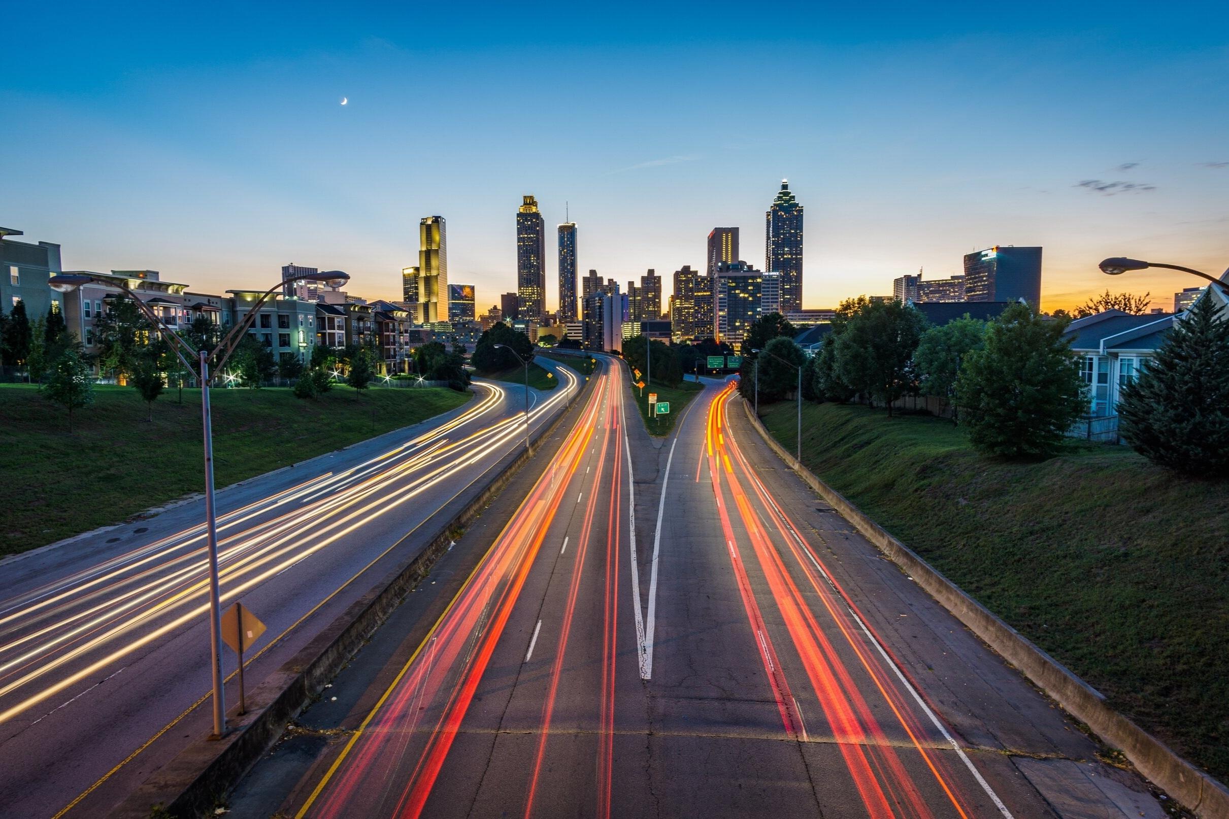 Atlanta's skyline at dusk