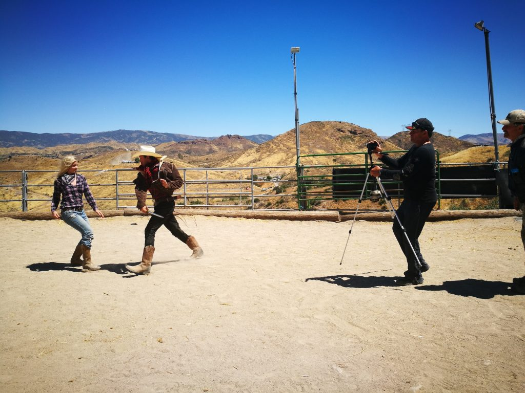 Filming our action scene with Luke Bellamy at the ranch
