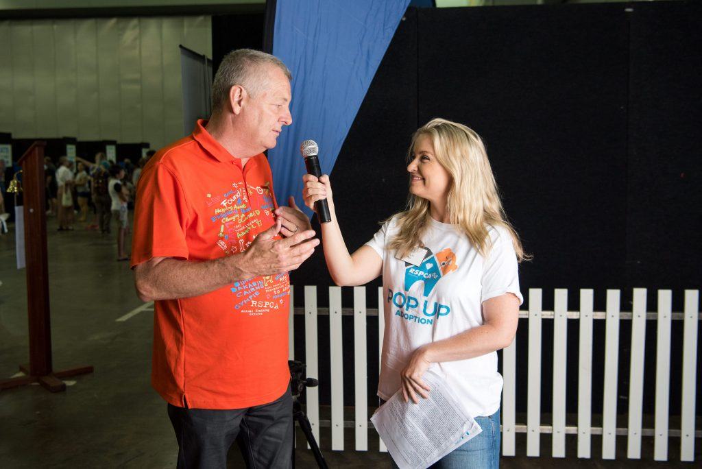 Interviewing RSPCA CEO, Mark Townend at the Pop Up Adoption 2018