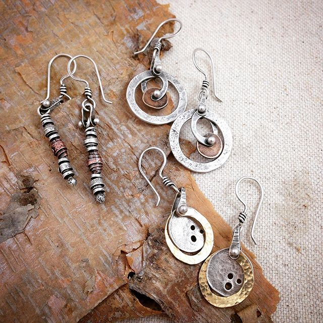 Just packaged these beauties to Minnesota!!!! May they have some wonderful adventures up north and lots of interesting conversations to listen to!!! #earringsoftheday  #earrings  #stacieflorerjewelry #mixedmetaljewelry