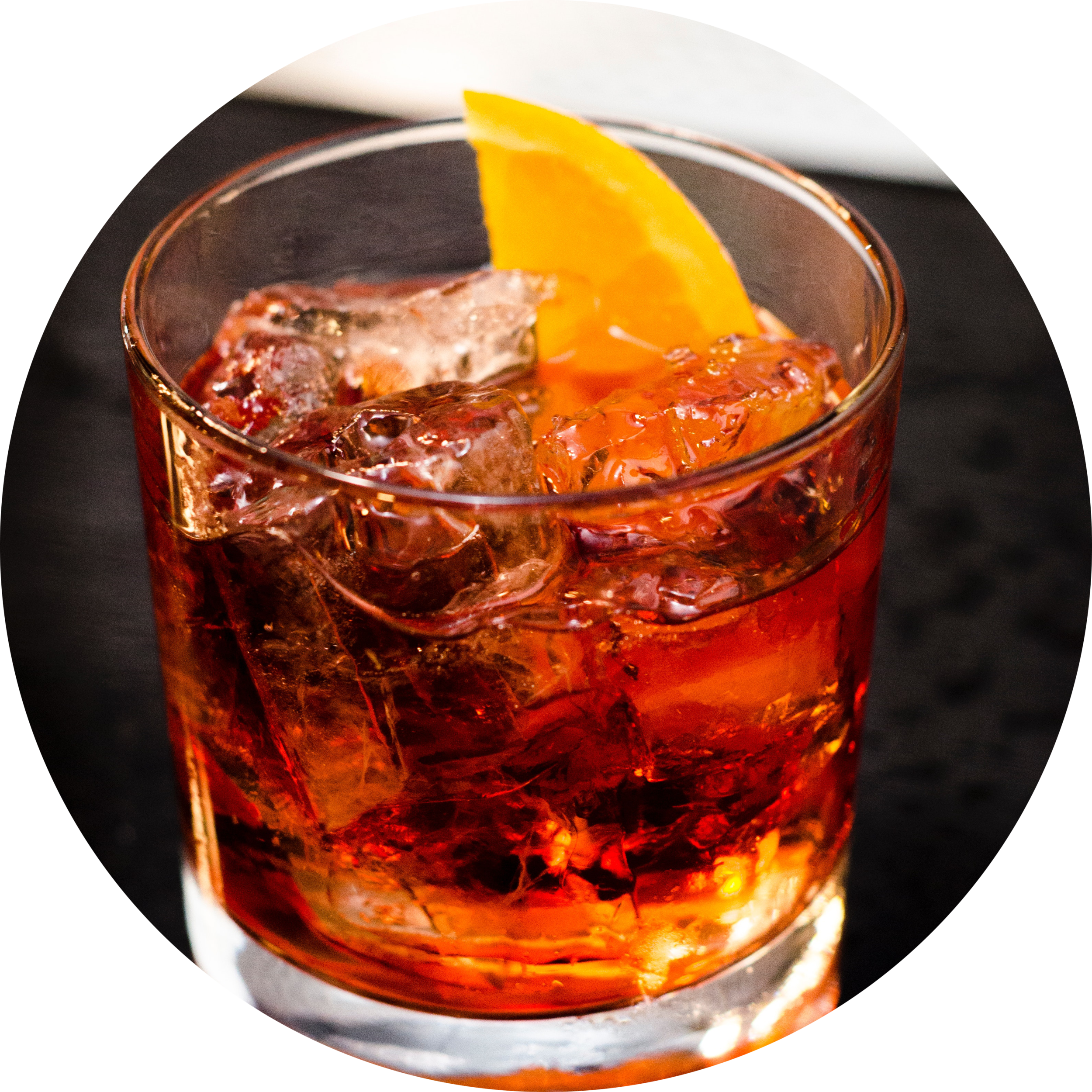 OLD FASHIONED   1 sugar cube  2 dashes angostura  2oz Amber Rum  Orange Twist    Served in a rocks glass on ice