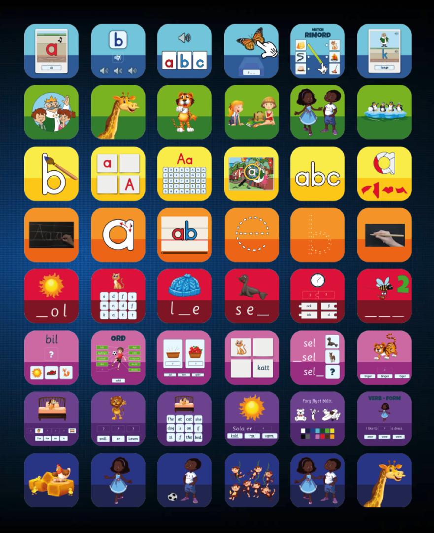 500 unike apper - Leap Learning kan tilby en helt unik samling av utdanningsapper. Vi har utviklet mer enn 500 unike modulære apper for grunnleggende lese- og skriveopplæring, matematikk, logikk og entreprenørskap. Appene er tilgjengelige på flere språk!Gå til appene