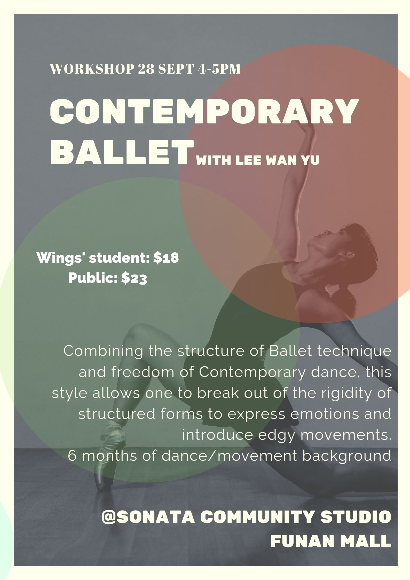 Contemporary Ballet Wings To Wings Dance Classes Singapore Workshop Funan September