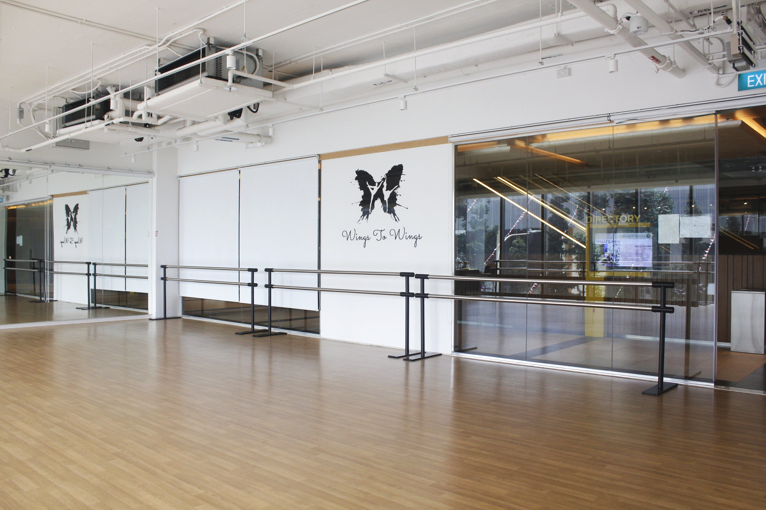 STUDIO 1 - LARGE STUDIO (117sqm)  Features: Yoga mats, dumb bells, pilates ball, yoga block, resistance bands, aux cable, speakers. Can fit up to 25 pax, depending on activity.