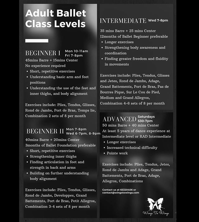 *QUICK SHEET* 👯‍♀️ Ballet classes for Adults here!  Find out which ballet class suits you best, and call or email us to book in a trial class at $20 ☎️ See you in our studios!