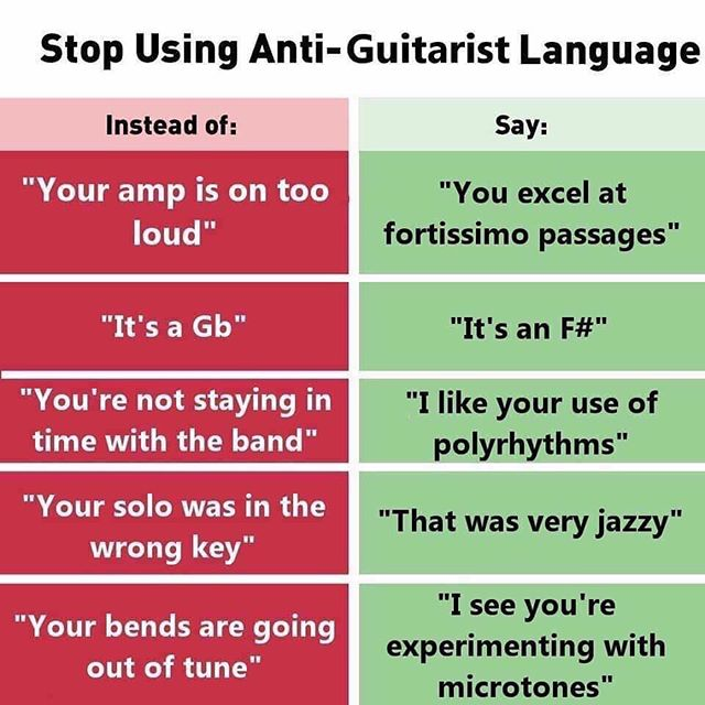 Give every guitarist the respect they deserve.