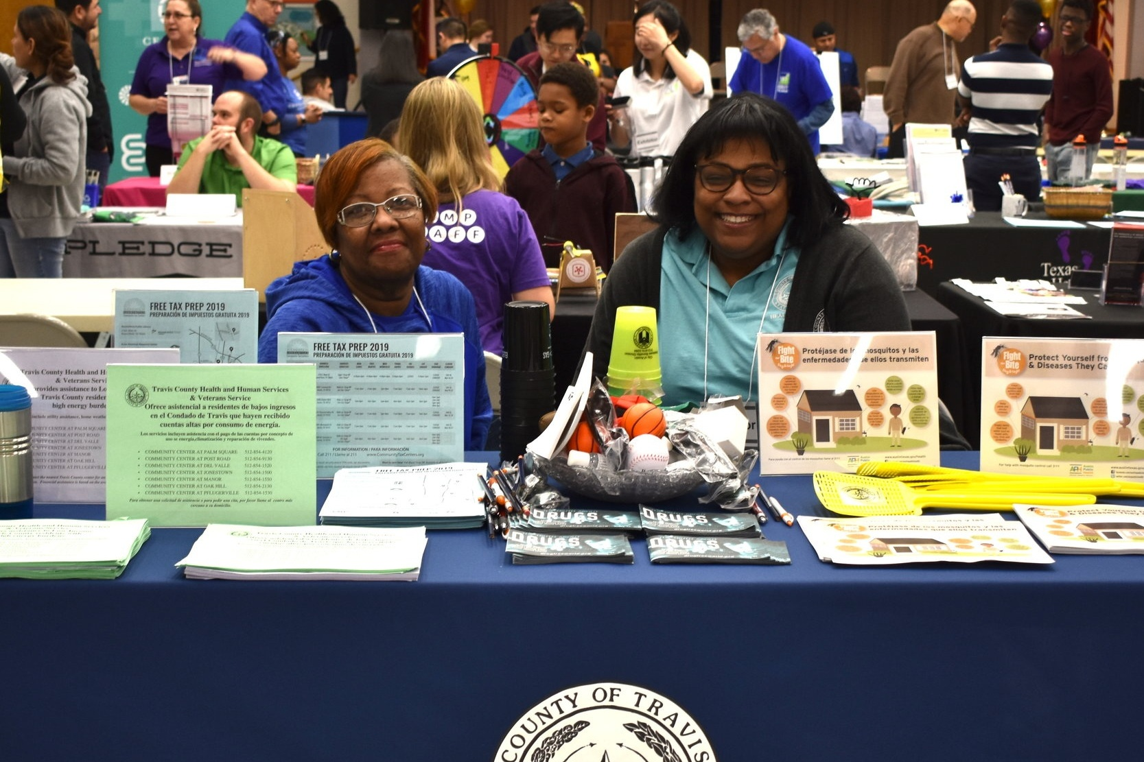 Travis County Health and Human Services booth at local health and resource fair.