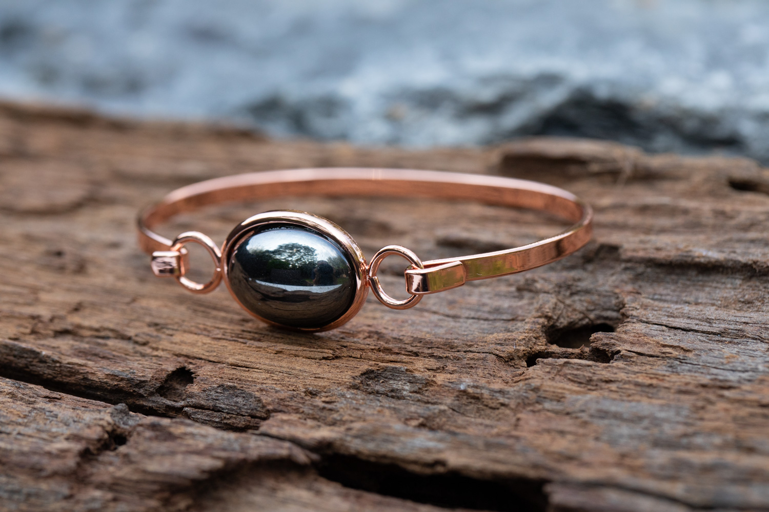 Copper bangle incorporating hematine - £16
