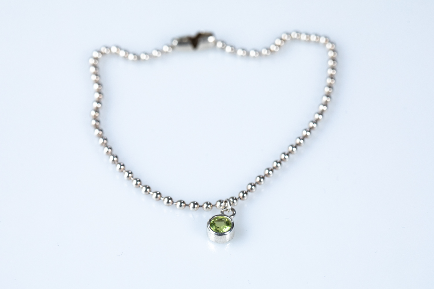 Sterling silver ball chain with birthstone charm set in sterling silver - £30